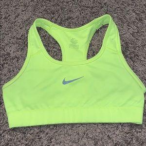 neon yellow nike dri fit sports bra